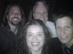 Backstage before a show with L-R, Joe Alley, Jennifer Grimm, me, Blair Krivanek