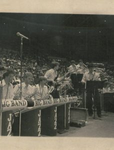The North Branch High School Jazz Ensemble ar the State Wrestling Tournament in the 1980's