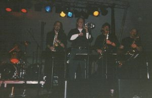 A hard-blowin' Power of 10 horn section from a few years back: L-R, Joe Alley, Jeff Carver, Mike Sav
