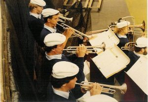Looking over the shoulders of the Minnesota Vikings Band horn section in the mid-1980's.